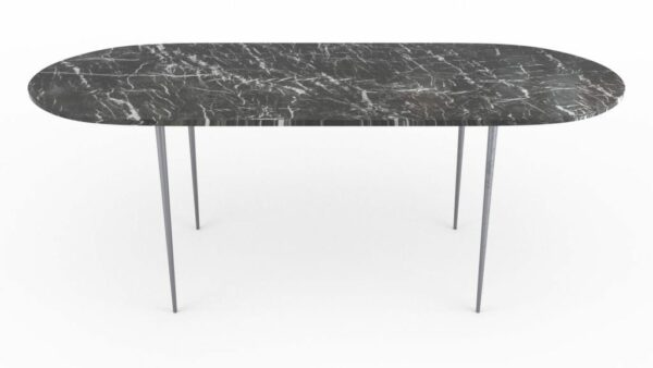 Table à manger de forme oblongue en marbre grigio carnico