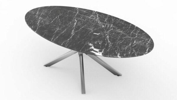 Table à manger de forme ovale en marbre grigio carnico