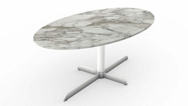 Table à manger ovale en marbre blanc calacatta oro