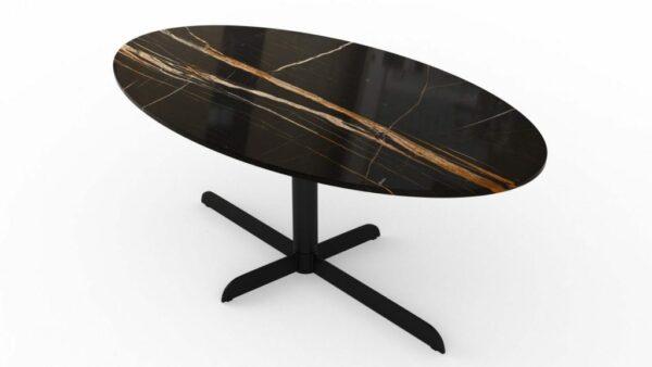 Table à manger ovale en marbre nero dorato