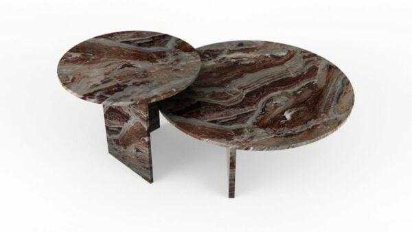 Tables gigognes rondes en marbre orobico rosso