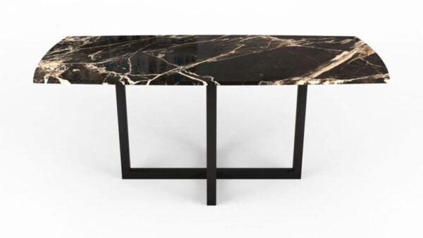 Table à manger en forme de biscuit en marbre calacatta nero
