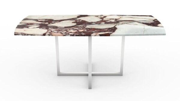 Table à manger en forme de biscuit en marbre calacatta viola