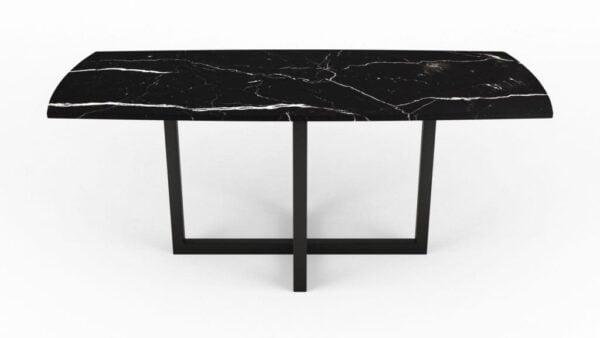 Table à manger en forme de biscuit en marbre noir marquina
