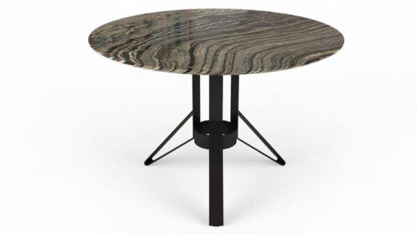 Table à manger ronde en marbre black wood