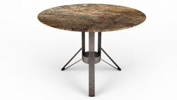 Table à manger ronde en marbre rain green forest