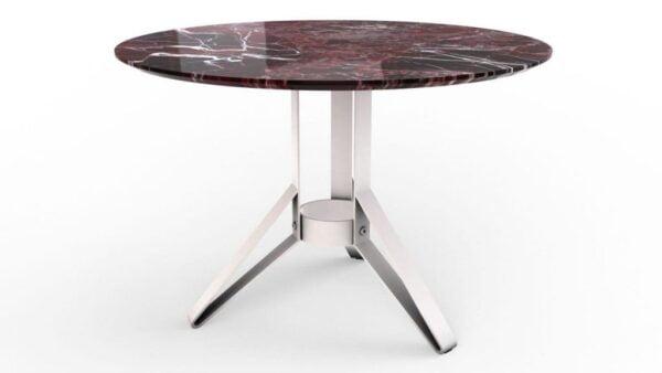 Table à manger ronde en marbre rosso levanto