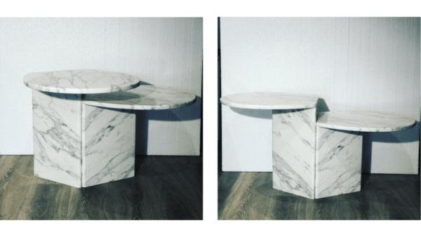 Tables gigognes en marbre blanc