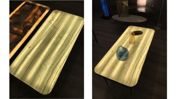 Table basse en onyx rétroéclairée