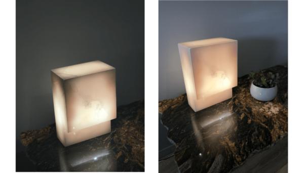 Lampe de chevet en onyx rose allumée