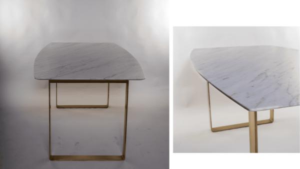 Table à manger de forme biscuit en marbre blanc