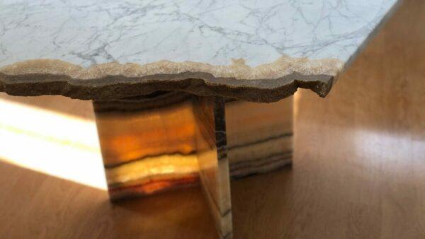 Table basse moderne en marbre et onyx