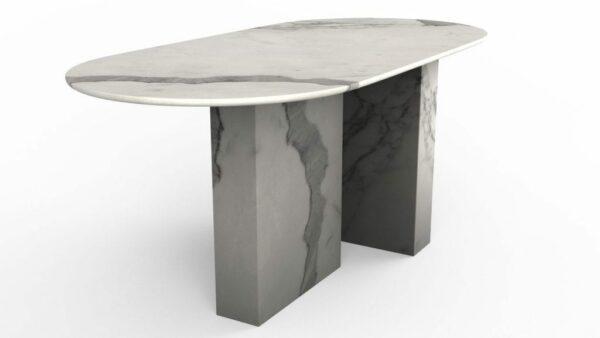 Table à manger de forme oblongue en marbre blanc calacatta venato