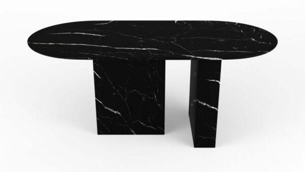 Table à manger de forme oblongue en marbre noir marquina