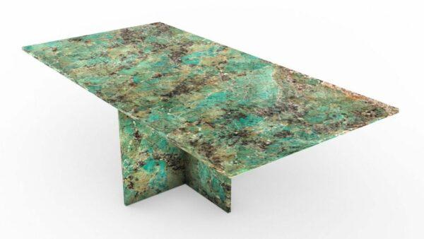 Table basse rectangulaire en granit vert