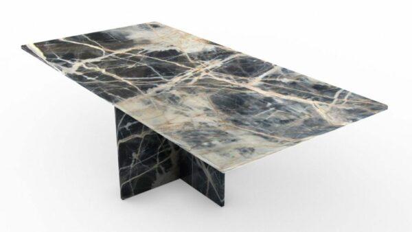 Table basse rectangulaire en marbre noir