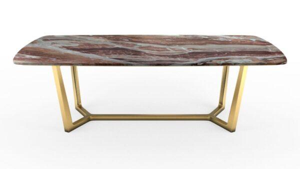 Table à manger avec un plateau forme biscuit en marbre orobico rosso