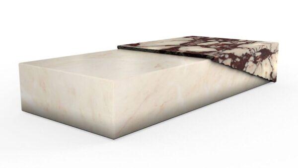 Table basse rectangulaire en marbre blanc