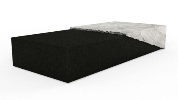 Table basse rectangulaire en granit noir