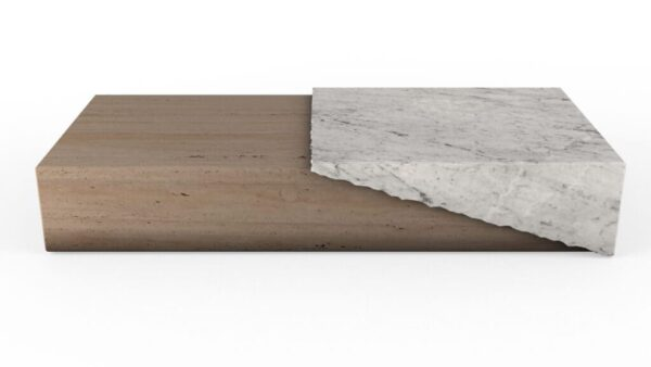 Table basse rectangulaire en marbre travertin