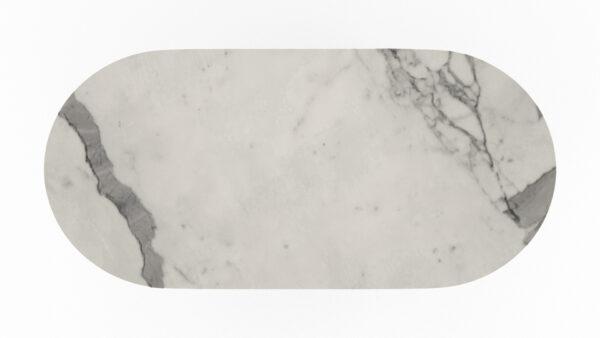 plateau de forme oblongue marbre blanc