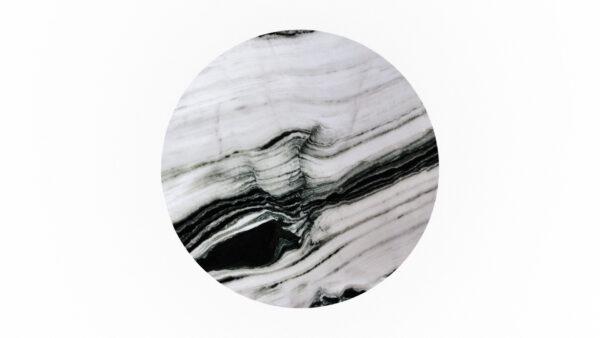 plateau rond marbre blanc et noir