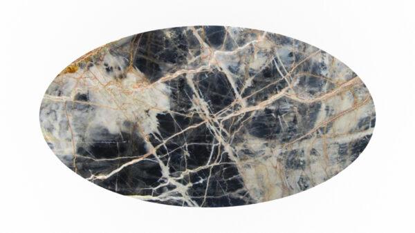 plateau forme ovale marbre blanc et noir