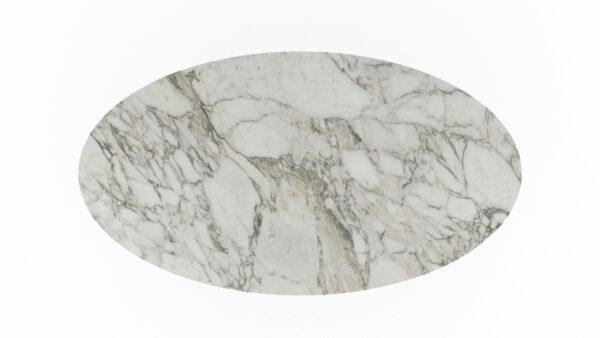 plateau forme ovale marbre blanc